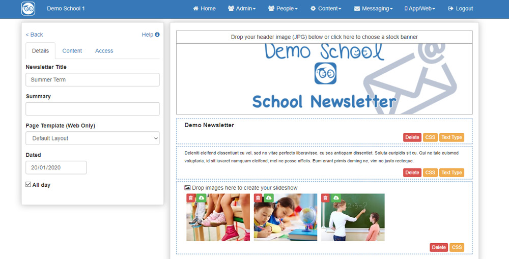 Adding content to a school newsletter
